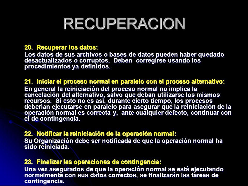 RECUPERACION 20. Recuperar los datos: Los datos de sus archivos o bases de datos pueden haber quedado desactualizados o corruptos. Deben corregirse us