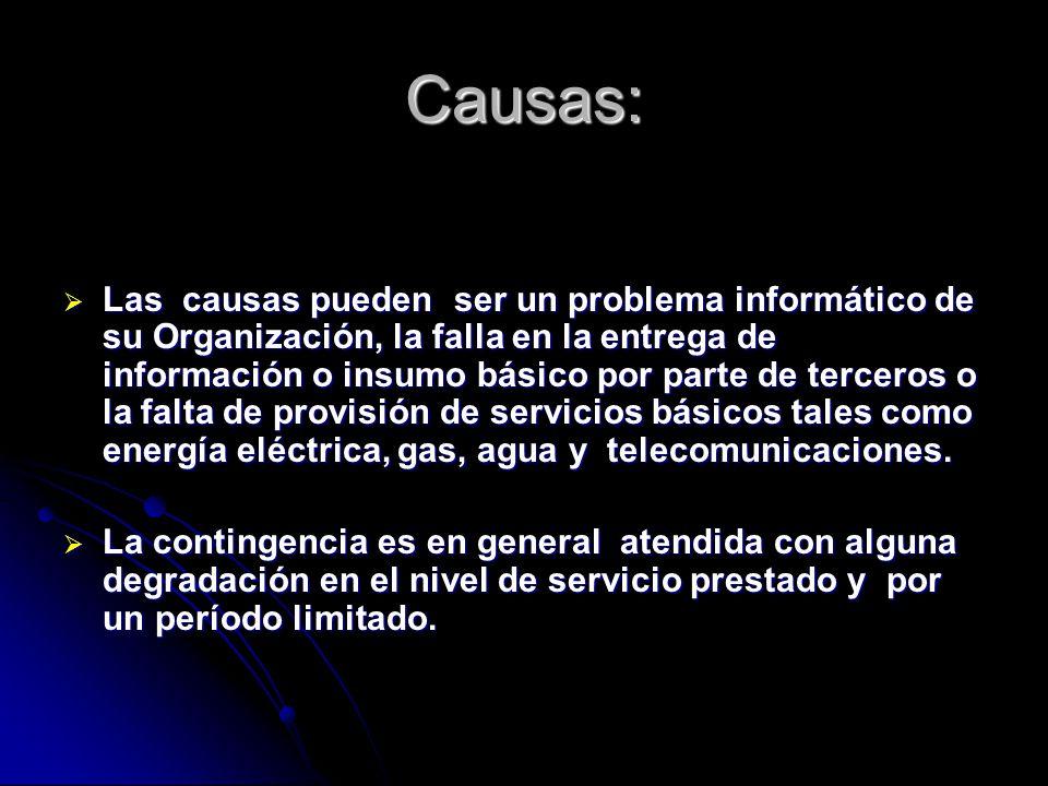 Causas: Las causas pueden ser un problema informático de su Organización, la falla en la entrega de información o insumo básico por parte de terceros o la falta de provisión de servicios básicos tales como energía eléctrica, gas, agua y telecomunicaciones.