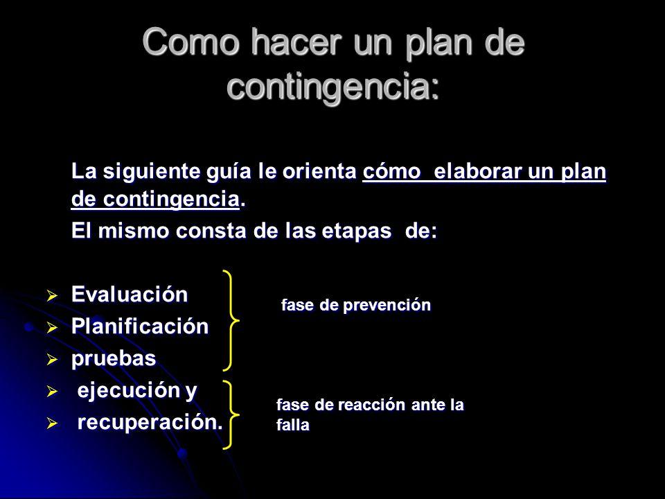 Como hacer un plan de contingencia: La siguiente guía le orienta cómo elaborar un plan de contingencia. El mismo consta de las etapas de: Evaluación E