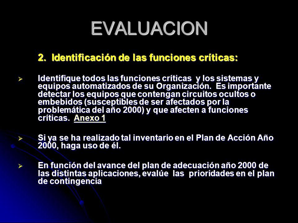 EVALUACION 2. Identificación de las funciones críticas: Identifique todos las funciones críticas y los sistemas y equipos automatizados de su Organiza