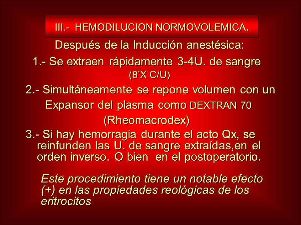 III.- HEMODILUCION NORMOVOLEMICA. III.- HEMODILUCION NORMOVOLEMICA. Después de la Inducción anestésica: Después de la Inducción anestésica: 1.- Se ext