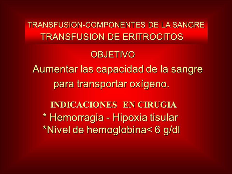 OBJETIVO OBJETIVO Aumentar las capacidad de la sangre Aumentar las capacidad de la sangre para transportar oxígeno. para transportar oxígeno. TRANSFUS