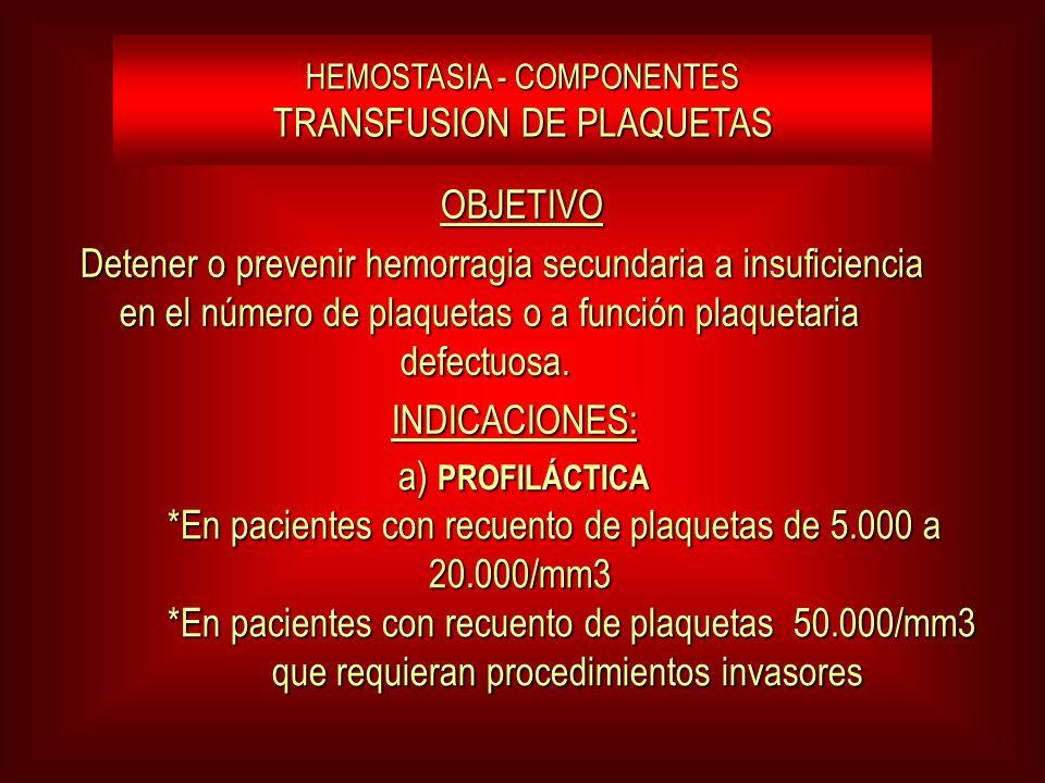 HEMOSTASIA - COMPONENTES TRANSFUSION DE PLAQUETAS OBJETIVO OBJETIVO Detener o prevenir hemorragia secundaria a insuficiencia en el número de plaquetas o a función plaquetaria defectuosa.