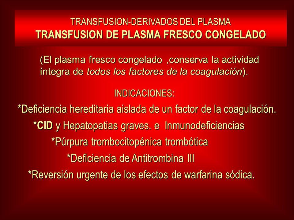 TRANSFUSION-DERIVADOS DEL PLASMA TRANSFUSION DE PLASMA FRESCO CONGELADO INDICACIONES: INDICACIONES: *Deficiencia hereditaria aislada de un factor de l