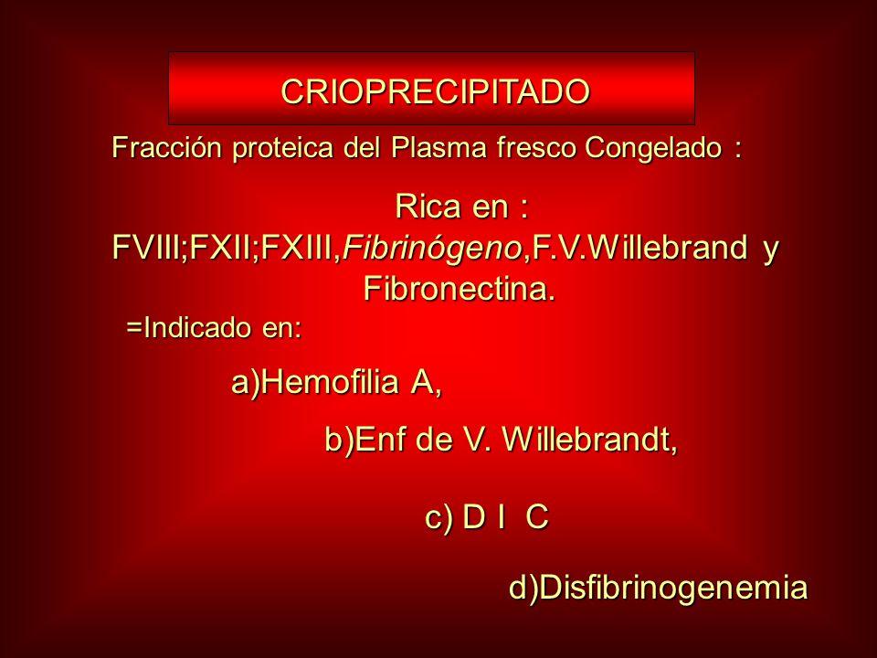 CRIOPRECIPITADO CRIOPRECIPITADO Fracción proteica del Plasma fresco Congelado : Rica en : FVIII;FXII;FXIII,Fibrinógeno,F.V.Willebrand y Fibronectina.