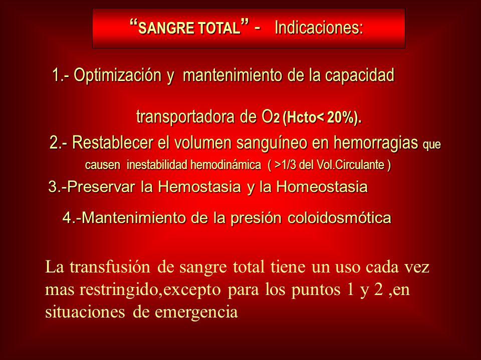 SANGRE TOTAL - Indicaciones: SANGRE TOTAL - Indicaciones: 1.- Optimización y mantenimiento de la capacidad transportadora de O 2 (Hcto< 20%). 1.- Opti