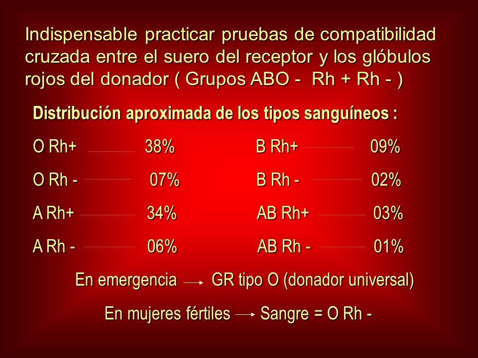 Indispensable practicar pruebas de compatibilidad cruzada entre el suero del receptor y los glóbulos rojos del donador ( Grupos ABO - Rh + Rh - ) Distribución aproximada de los tipos sanguíneos : O Rh+ 38% B Rh+ 09% O Rh - 07% B Rh - 02% A Rh+ 34% AB Rh+ 03% A Rh - 06% AB Rh - 01% En emergencia GR tipo O (donador universal) En emergencia GR tipo O (donador universal) En mujeres fértiles Sangre = O Rh - En mujeres fértiles Sangre = O Rh -