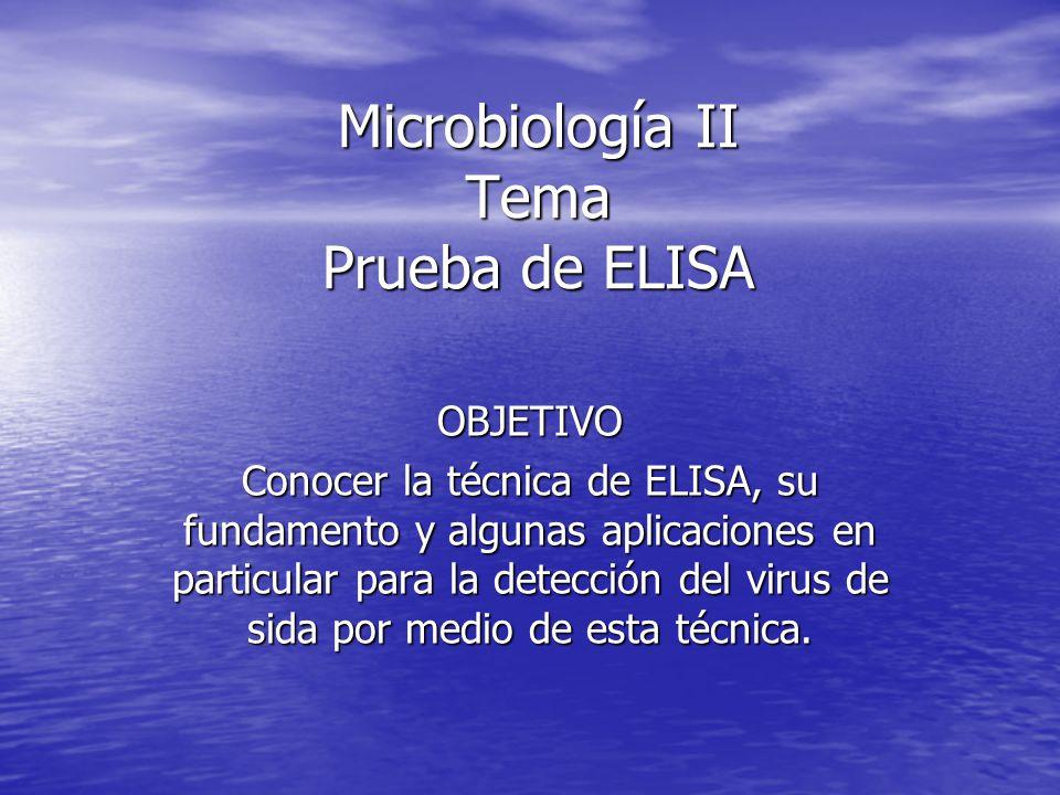 Microbiología II Tema Prueba de ELISA OBJETIVO Conocer la técnica de ELISA, su fundamento y algunas aplicaciones en particular para la detección del virus de sida por medio de esta técnica.