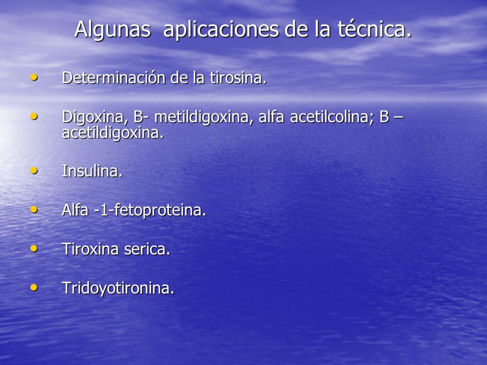 Algunas aplicaciones de la técnica.Determinación de la tirosina.