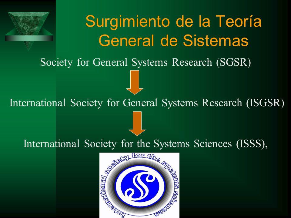 Surgimiento de la Teoría General de Sistemas La teoría general de sistemas, idea desarrollada por L. Von Bertalanffy en 1930, fue un tema nuevo que ca