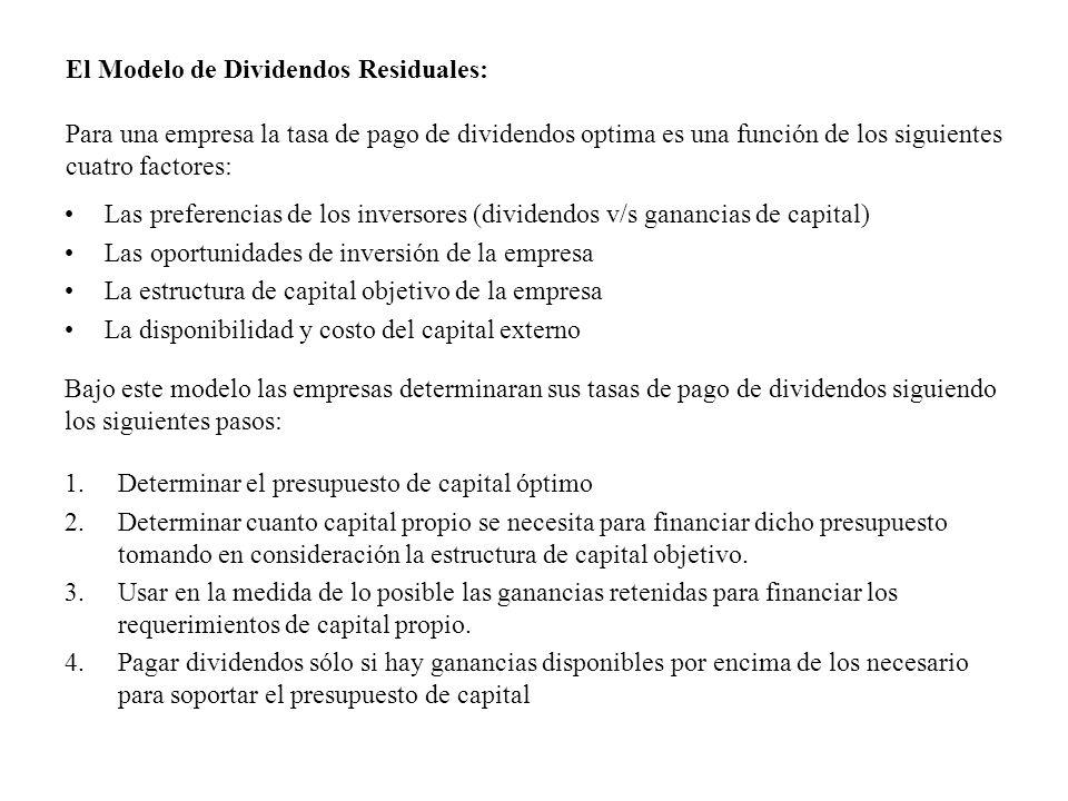 Las preferencias de los inversores (dividendos v/s ganancias de capital) Las oportunidades de inversión de la empresa La estructura de capital objetiv