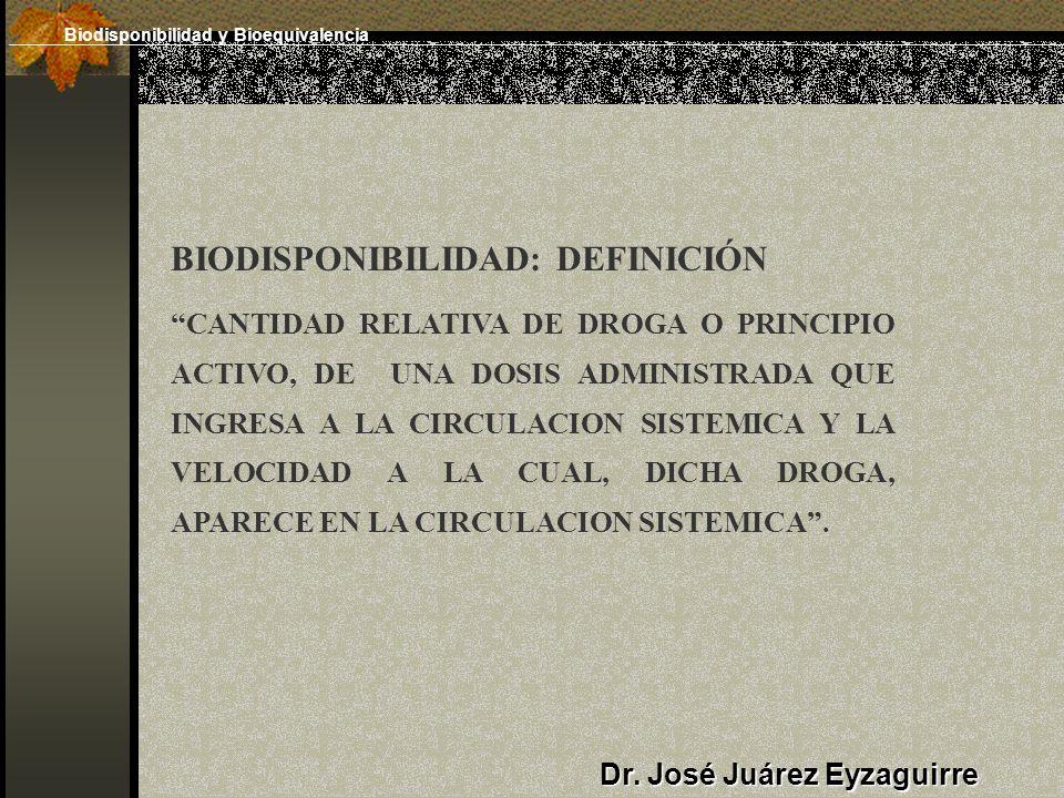 Dr. José Juárez Eyzaguirre BIODISPONIBILIDAD: DEFINICIÓN CANTIDAD RELATIVA DE DROGA O PRINCIPIO ACTIVO, DE UNA DOSIS ADMINISTRADA QUE INGRESA A LA CIR