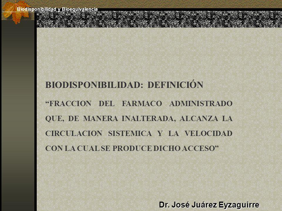 Dr. José Juárez Eyzaguirre BIODISPONIBILIDAD: DEFINICIÓN FRACCION DEL FARMACO ADMINISTRADO QUE, DE MANERA INALTERADA, ALCANZA LA CIRCULACION SISTEMICA