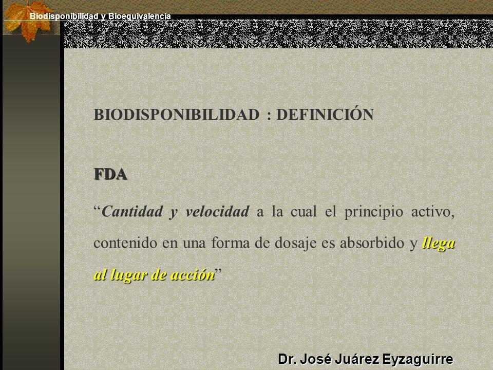 BIODISPONIBILIDAD : DEFINICIÓNFDA llega al lugar de acciónCantidad y velocidad a la cual el principio activo, contenido en una forma de dosaje es absorbido y llega al lugar de acción Dr.