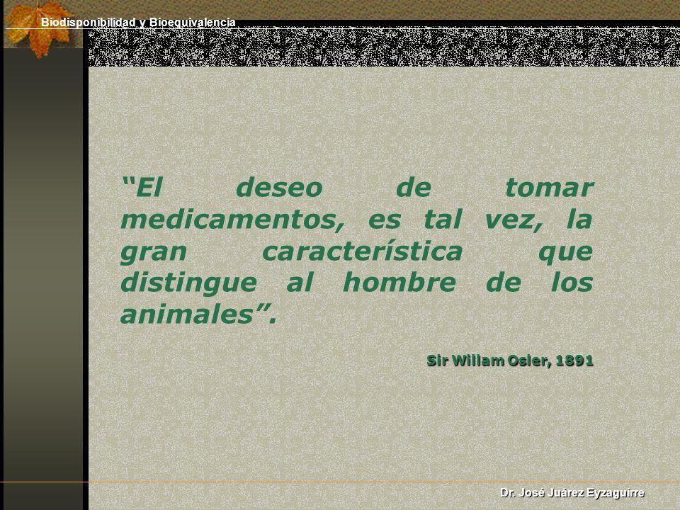 El deseo de tomar medicamentos, es tal vez, la gran característica que distingue al hombre de los animales. Sir Willam Osler, 1891 Biodisponibilidad y