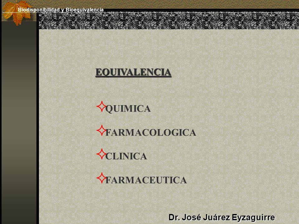 Dr. José Juárez Eyzaguirre EQUIVALENCIA QUIMICA FARMACOLOGICA CLINICA FARMACEUTICA Biodisponibilidad y Bioequivalencia