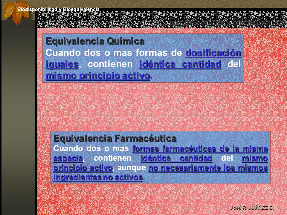 Equivalencia - Definiciones José R. JUÁREZ E. Equivalencia Química dosificación igualesidéntica cantidad mismo principio activo Cuando dos o mas forma
