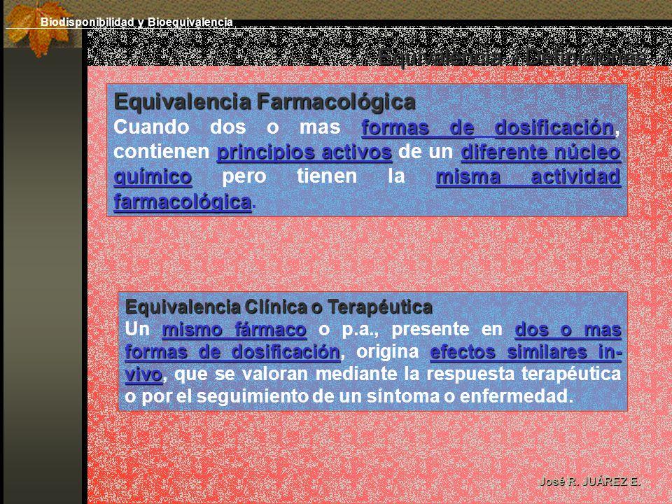 Equivalencia - Definiciones José R. JUÁREZ E. Equivalencia Farmacológica formas dedosificación principios activosdiferente núcleo químicomisma activid