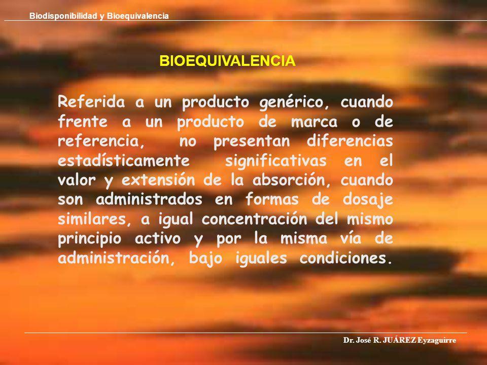 BIOEQUIVALENCIA Referida a un producto genérico, cuando frente a un producto de marca o de referencia, no presentan diferencias estadísticamente signi