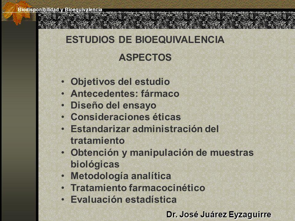 Dr. José Juárez Eyzaguirre ESTUDIOS DE BIOEQUIVALENCIA ASPECTOS Objetivos del estudio Antecedentes: fármaco Diseño del ensayo Consideraciones éticas E