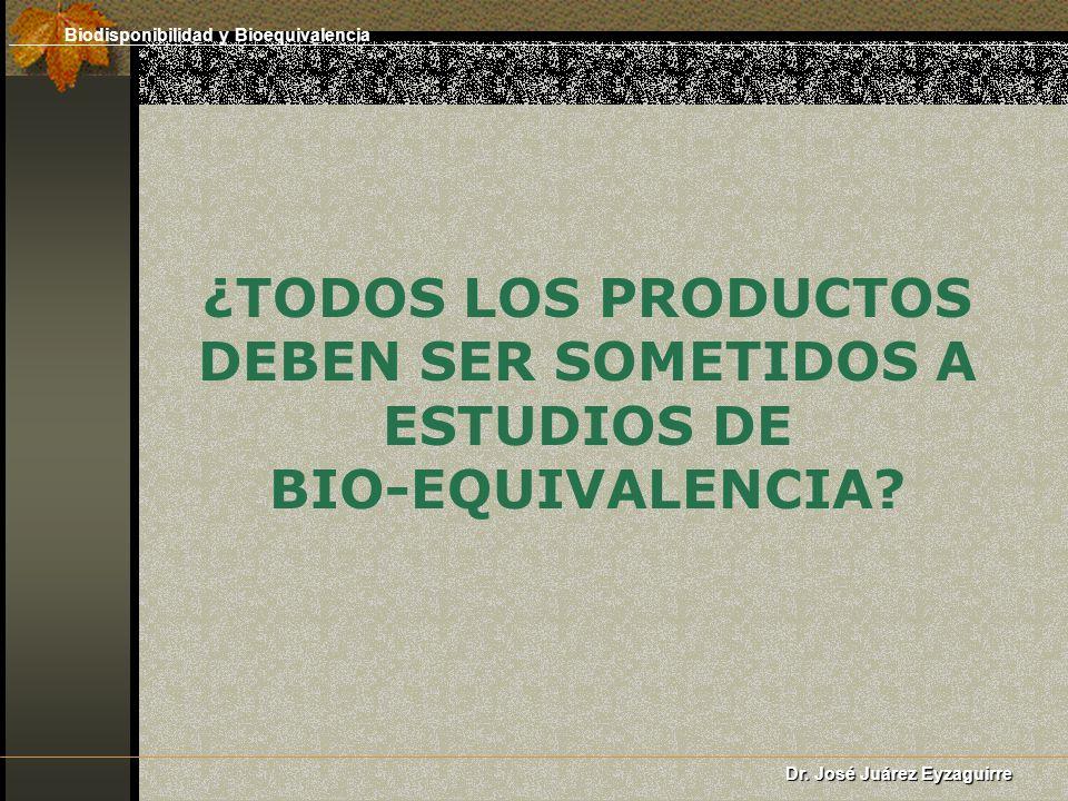 ¿TODOS LOS PRODUCTOS DEBEN SER SOMETIDOS A ESTUDIOS DE BIO-EQUIVALENCIA? Dr. José Juárez Eyzaguirre Biodisponibilidad y Bioequivalencia