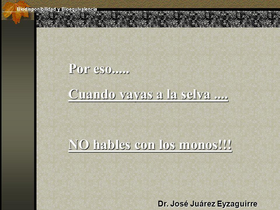 Dr. José Juárez Eyzaguirre Por eso..... Cuando vayas a la selva.... NO hables con los monos!!! Biodisponibilidad y Bioequivalencia