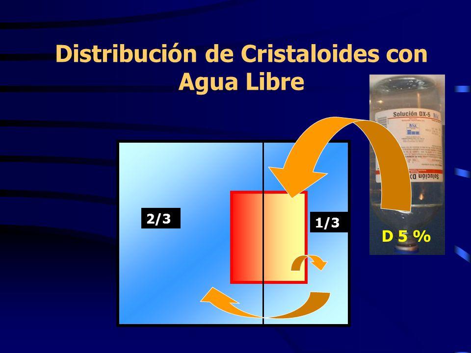 Distribución de Cristaloides con Agua Libre D 5 % 2/3 1/3