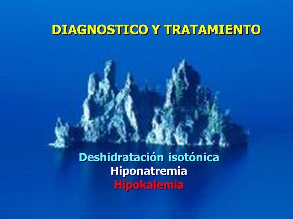 DIAGNOSTICO Y TRATAMIENTO Deshidratación isotónica Hiponatremia Hipokalemia Deshidratación isotónica Hiponatremia Hipokalemia