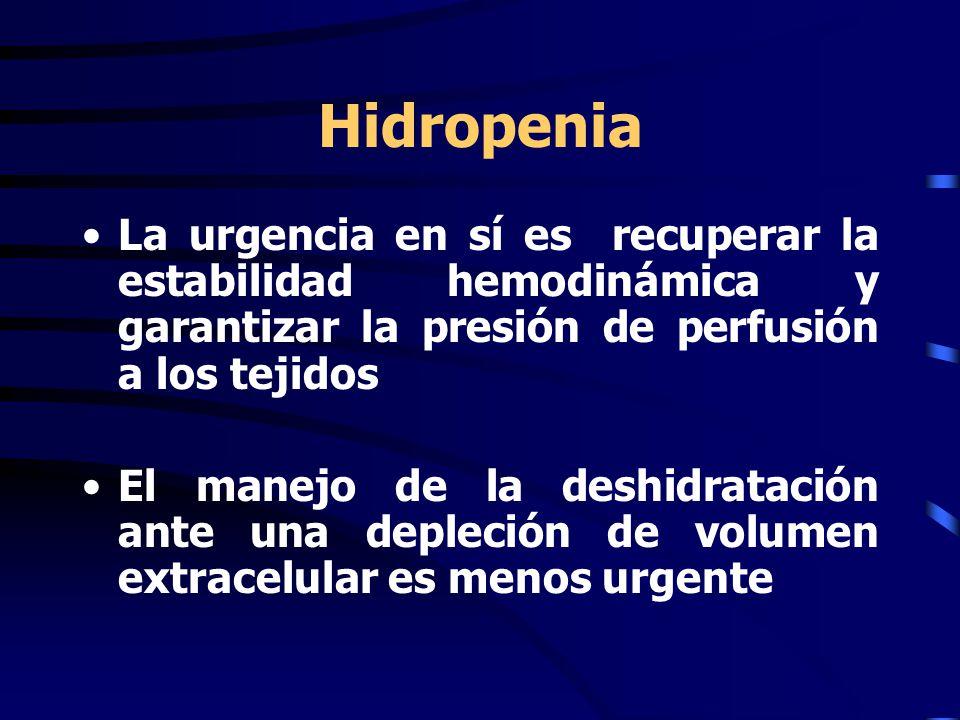 Hidropenia La urgencia en sí es recuperar la estabilidad hemodinámica y garantizar la presión de perfusión a los tejidos El manejo de la deshidratación ante una depleción de volumen extracelular es menos urgente