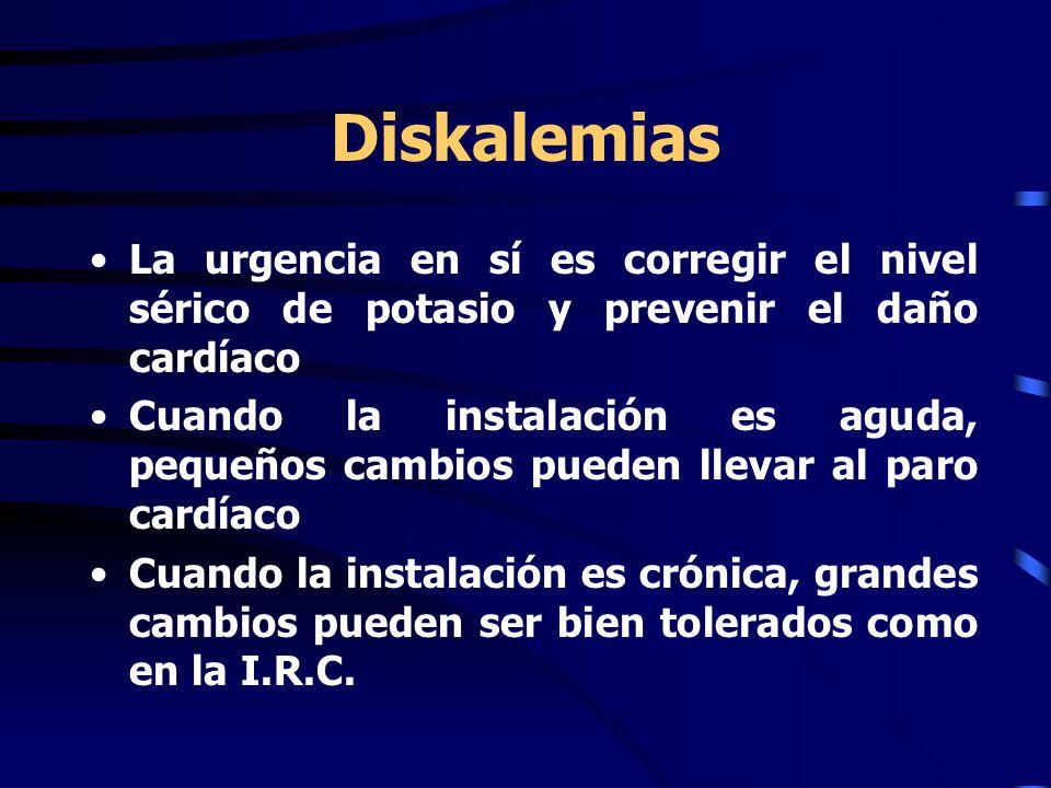 Diskalemias La urgencia en sí es corregir el nivel sérico de potasio y prevenir el daño cardíaco Cuando la instalación es aguda, pequeños cambios pueden llevar al paro cardíaco Cuando la instalación es crónica, grandes cambios pueden ser bien tolerados como en la I.R.C.