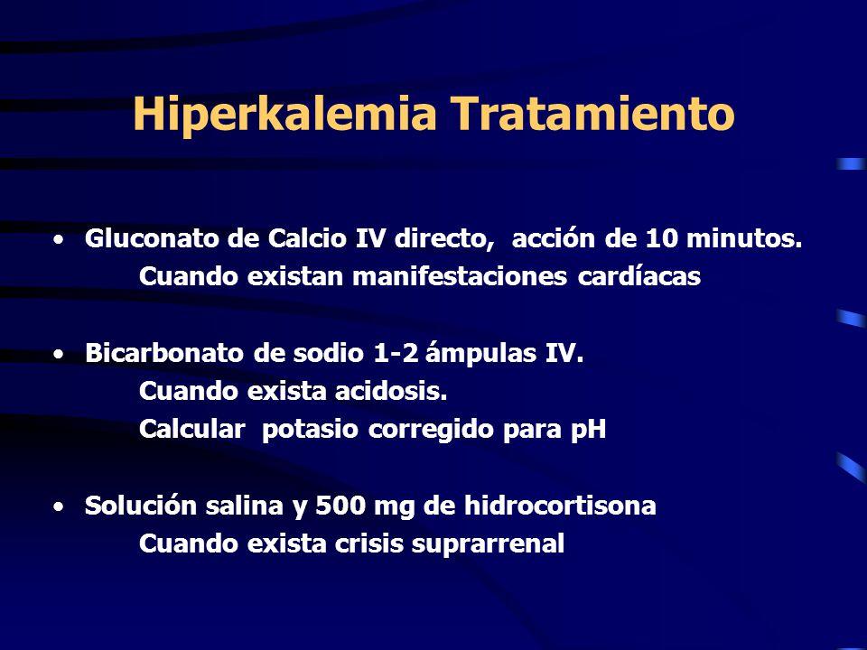 Hiperkalemia Tratamiento Gluconato de Calcio IV directo, acción de 10 minutos. Cuando existan manifestaciones cardíacas Bicarbonato de sodio 1-2 ámpul