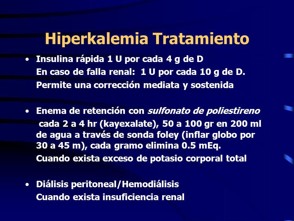 Hiperkalemia Tratamiento Insulina rápida 1 U por cada 4 g de D En caso de falla renal: 1 U por cada 10 g de D. Permite una corrección mediata y sosten