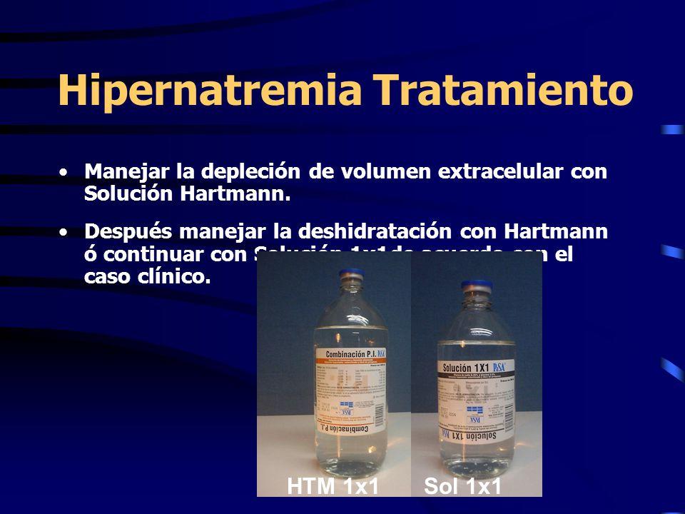 Hipernatremia Tratamiento Manejar la depleción de volumen extracelular con Solución Hartmann. Después manejar la deshidratación con Hartmann ó continu