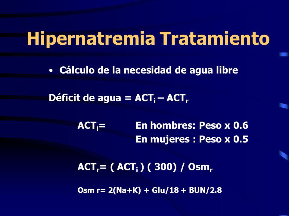 Hipernatremia Tratamiento Cálculo de la necesidad de agua libre Déficit de agua = ACT i – ACT r ACT i = En hombres: Peso x 0.6 En mujeres : Peso x 0.5 ACT r = ( ACT i ) ( 300) / Osm r Osm r= 2(Na+K) + Glu/18 + BUN/2.8