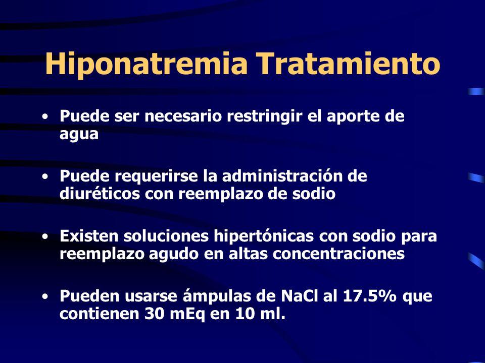 Hiponatremia Tratamiento Puede ser necesario restringir el aporte de agua Puede requerirse la administración de diuréticos con reemplazo de sodio Exis