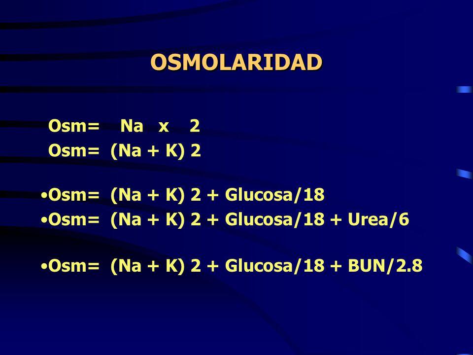 OSMOLARIDAD Osm= Na x 2 Osm= (Na + K) 2 Osm= (Na + K) 2 + Glucosa/18 Osm= (Na + K) 2 + Glucosa/18 + Urea/6 Osm= (Na + K) 2 + Glucosa/18 + BUN/2.8