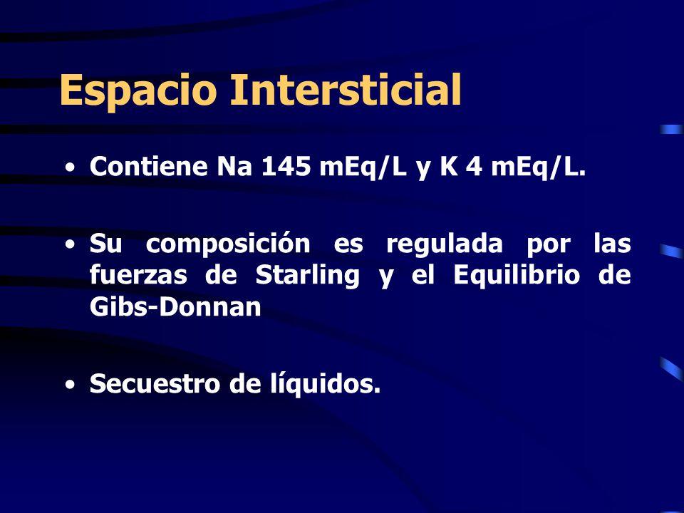 Espacio Intersticial Contiene Na 145 mEq/L y K 4 mEq/L. Su composición es regulada por las fuerzas de Starling y el Equilibrio de Gibs-Donnan Secuestr