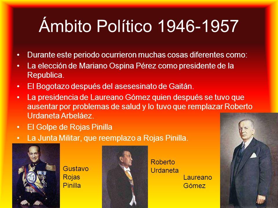 Ámbito Político 1946-1957 Durante este periodo ocurrieron muchas cosas diferentes como: La elección de Mariano Ospina Pérez como presidente de la Repu