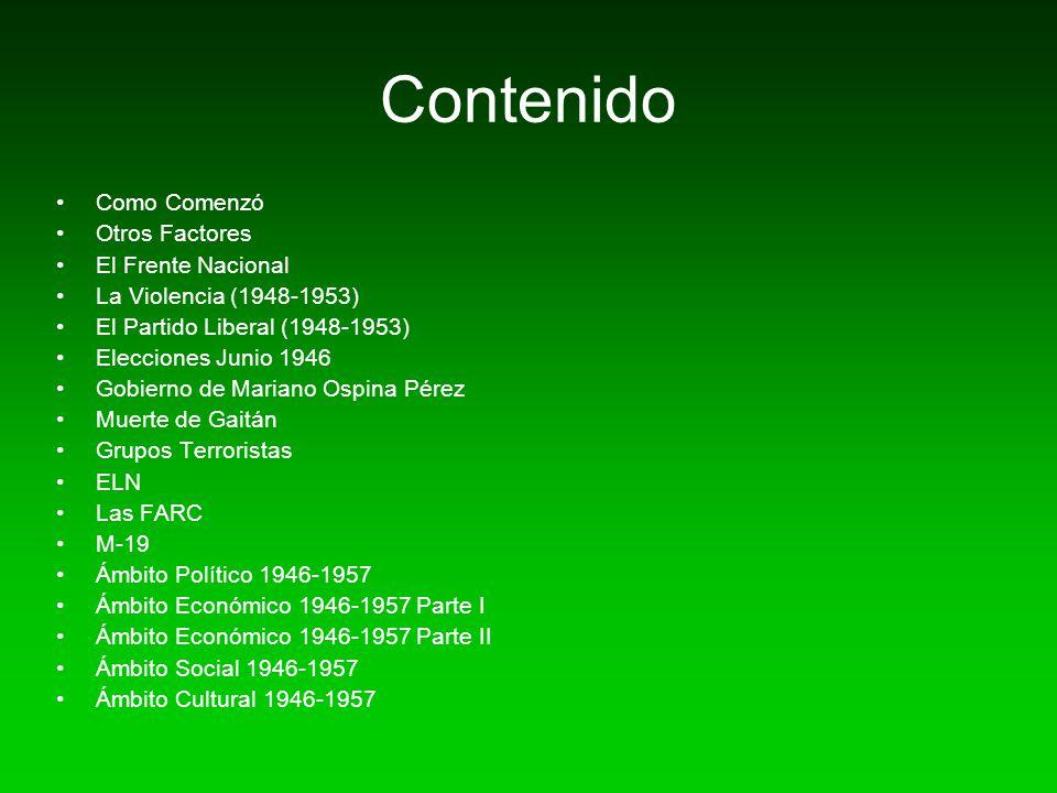 Contenido Como Comenzó Otros Factores El Frente Nacional La Violencia (1948-1953) El Partido Liberal (1948-1953) Elecciones Junio 1946 Gobierno de Mar