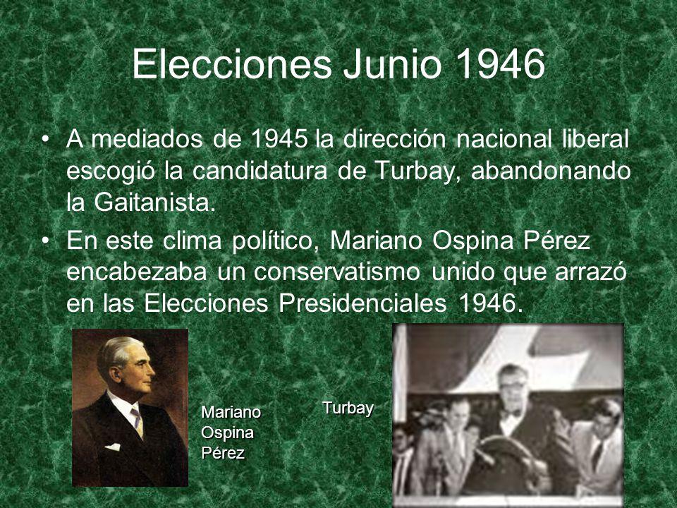 Elecciones Junio 1946 A mediados de 1945 la dirección nacional liberal escogió la candidatura de Turbay, abandonando la Gaitanista. En este clima polí