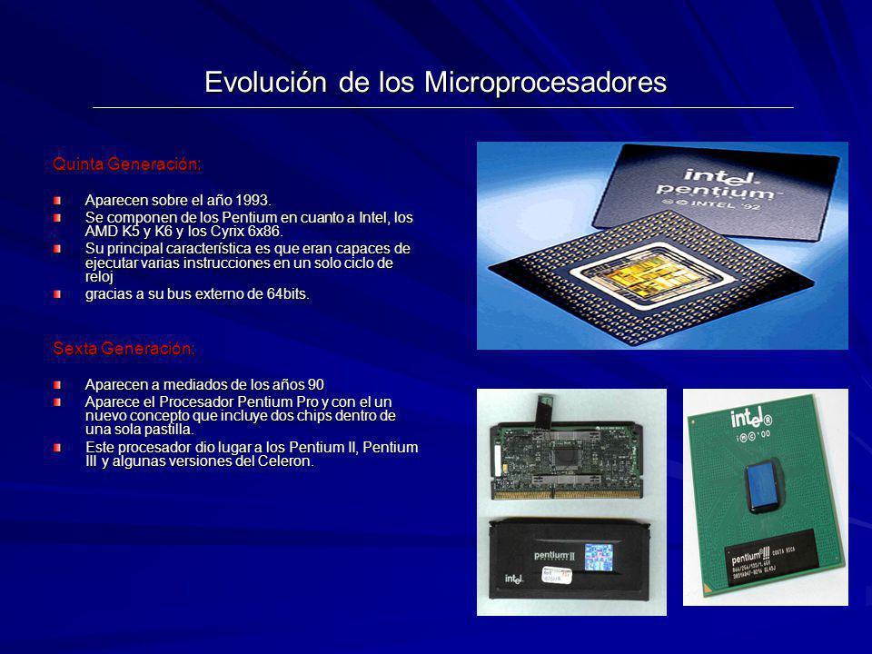 Evolución de los Microprocesadores Quinta Generación: Aparecen sobre el año 1993. Se componen de los Pentium en cuanto a Intel, los AMD K5 y K6 y los