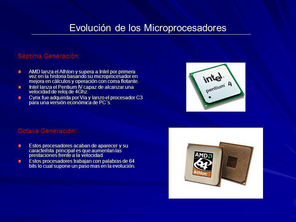 Evolución de los Microprocesadores Séptima Generación: AMD lanza el Athlon y supera a Intel por primera vez en la historia basando su microprocesador