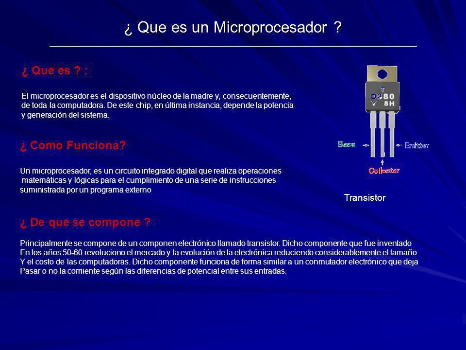 ¿ Que es un Microprocesador ? Transistor ¿ Que es ? : El microprocesador es el dispositivo núcleo de la madre y, consecuentemente, de toda la computad