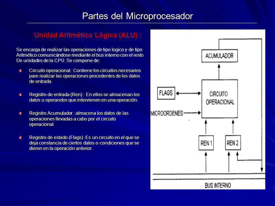 Partes del Microprocesador Circuito operacional : Contiene los circuitos necesarios pare realizar las operaciones procedentes de los datos de entrada