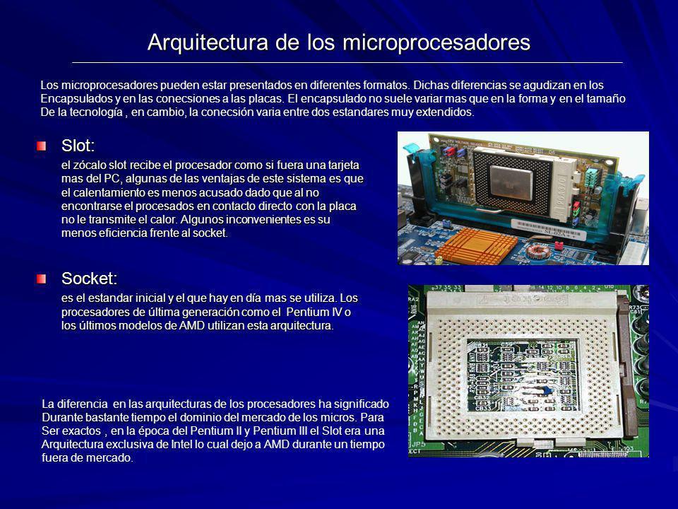 Arquitectura de los microprocesadores Slot: el zócalo slot recibe el procesador como si fuera una tarjeta mas del PC, algunas de las ventajas de este