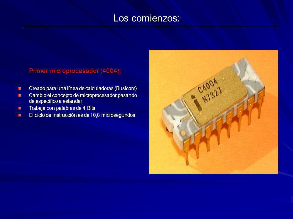 Los comienzos: Primer microprocesador (4004): Creado para una línea de calculadoras (Busicom) Cambio el concepto de microprocesador pasando de especif
