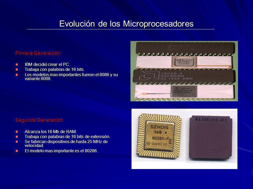 Evolución de los Microprocesadores Primera Generación: IBM decidió crear el PC. Trabaja con palabras de 16 bits. Los modelos mas importantes fueron el
