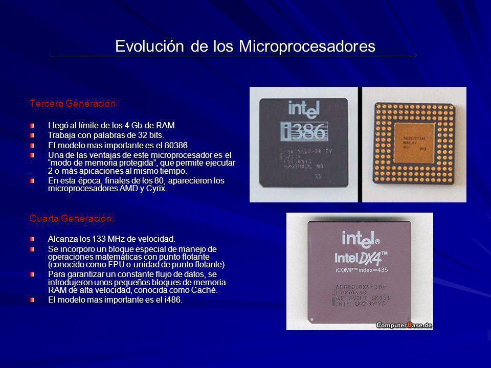Evolución de los Microprocesadores Tercera Generación: Llegó al límite de los 4 Gb de RAM Trabaja con palabras de 32 bits. El modelo mas importante es