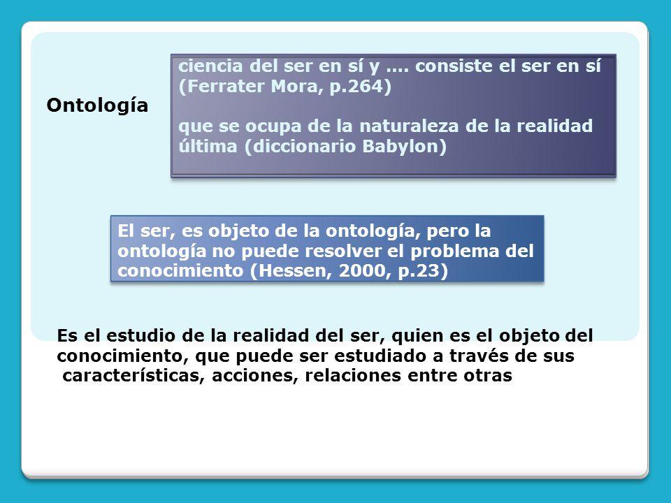 Ontología ciencia del ser en sí y …. consiste el ser en sí (Ferrater Mora, p.264) que se ocupa de la naturaleza de la realidad última (diccionario Bab