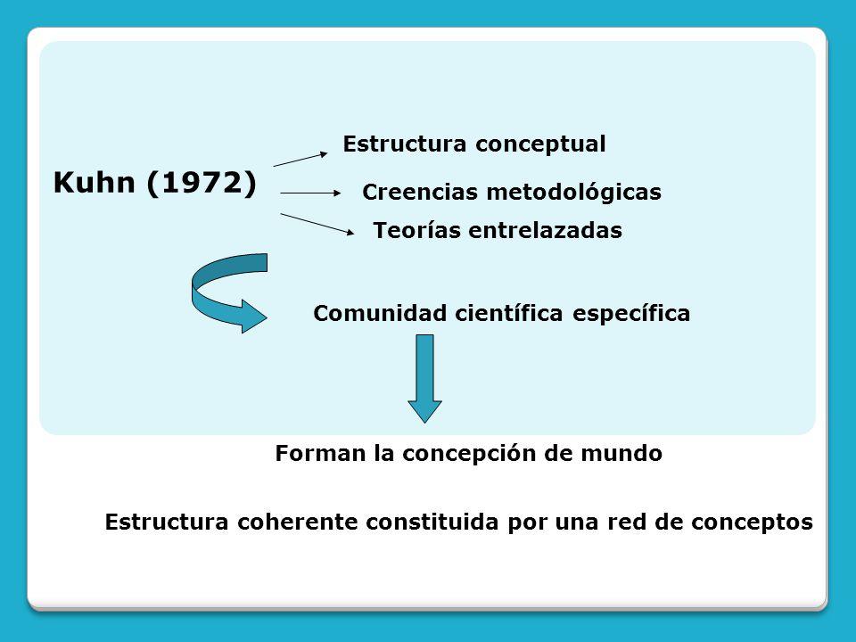 Kuhn (1972) Estructura conceptual Creencias metodológicas Teorías entrelazadas Comunidad científica específica Forman la concepción de mundo Estructur